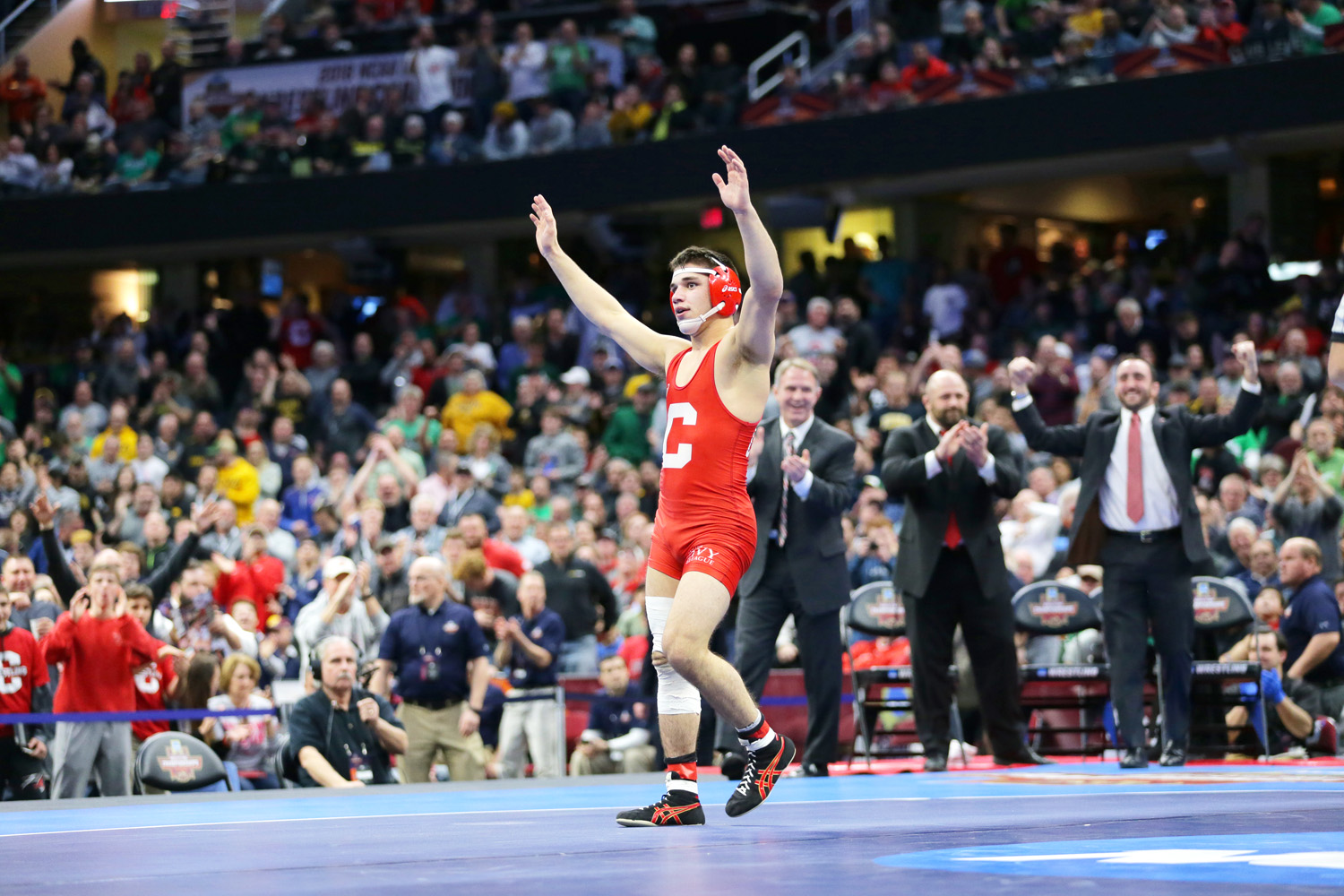 Hilton High School graduate and Cornell wrestler Yianni Diakomihalis reacts after defeating Wyoming Cowboys wrestler Bryce Meredith during the NCAA Division I Wrestling Championships at Quicken Loans Arena in Cleveland. Provided photo
