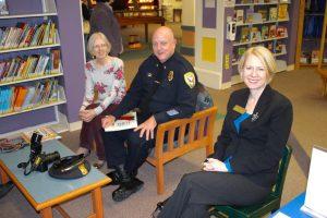 The three guest readers (l to r), Brigitte Duschen, Chief Mark Cuzzupoli, Dr. Heidi Mcpherson.