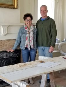 Valerie Ciciotti and Kevin McCarthy stand in a first-floor room of the 1851 building which they are renovating to become a Bed & Breakfast. The room will be returned to its original purpose as a sitting room. Photo by Dianne Hickerson