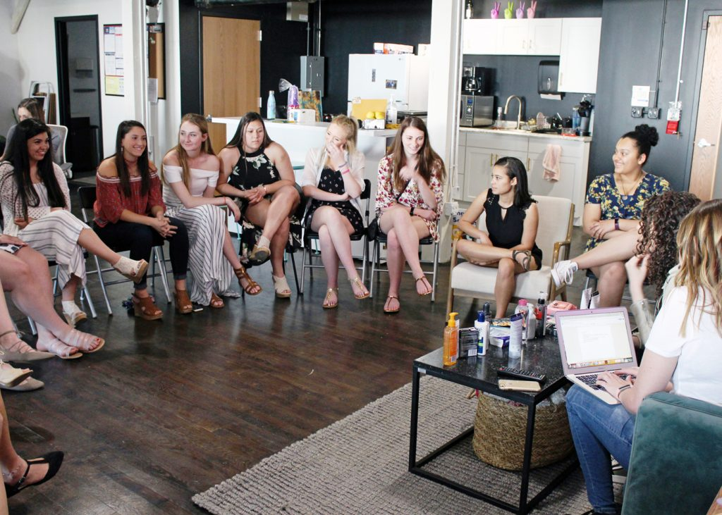 Churchville-Chili students participate in a focus group for Bioré skincare products at social media agency Helen & Gertrude. Provided photo