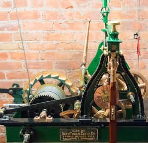 This is what makes it tick. The clockworks were restored to their original condition, including the pin stripe paint detail, by Essence of Time Tower and Street Clock Experts in Lockport. Cables are connected to weights that power the clock and bell strike. Photos by Ron Sabernick.