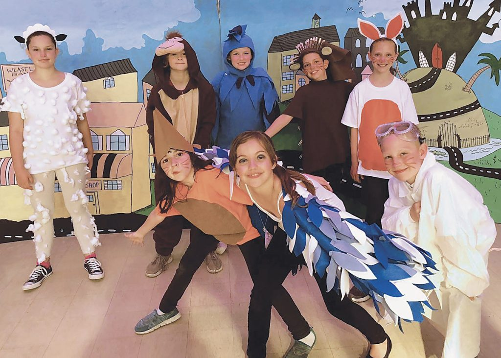 Above, the cast included narrators plus singing and dancing hedgehogs, rabbits, sheep, rats, mice, shrews, dogs, and even a chicken.