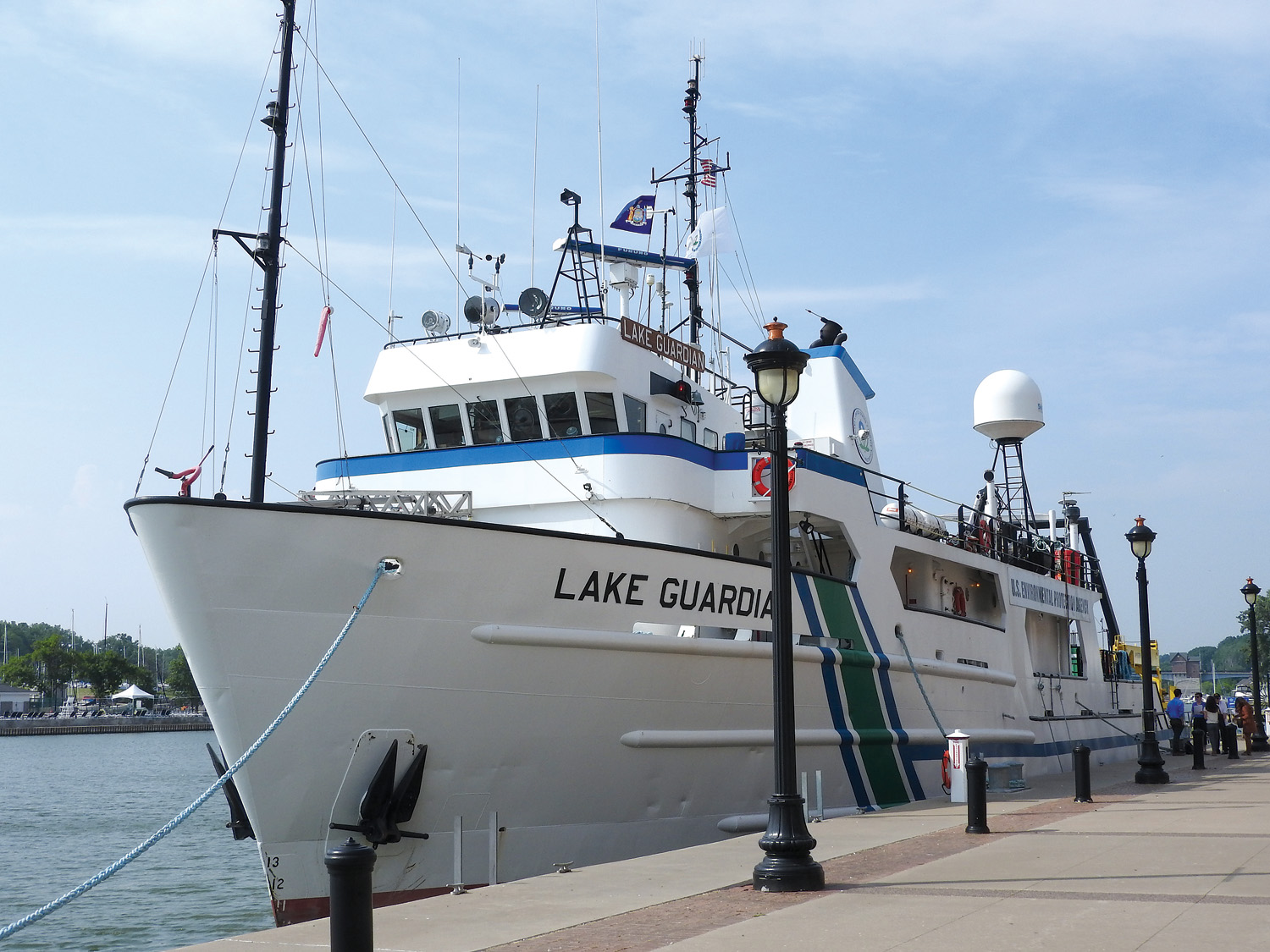 The Research Vessel Lake Guardian is the largest research vessel in the EPA fleet and the largest research vessel operating on the Great Lakes. The Lake Guardian sails across all five Great Lakes to support a wide range of research. This floating laboratory is used to collect samples and from these samples, scientists gather information about the physical, chemical and biological conditions of the Great Lakes. Their work has created baseline and long-term datasets as well as highlighted emerging issues. Managers and policymakers use this information to make sound decisions that help protect the Great Lakes. The Water Quality Survey is one of EPA's cornerstone and longest-running monitoring programs. The survey takes place on all five Great Lakes twice a year, in the spring, when the waters are cold and well mixed, and in the summer, when the waters are warm, layered and more biologically active. The program monitors long-term trends and changes in offshore water quality (such as nutrient levels), and identifies existing issues such as hypoxia, when low oxygen levels can affect the survival of aquatic life and the quality of drinking water.