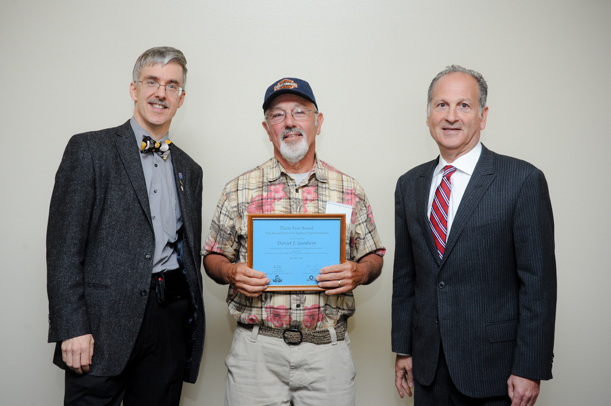 Pictured (l-r): David Orr, Director, Cornell Local Roads Program; David Goodwin, Former Superintendent of Highways, Town of Clarkson; Gerry Geist, Executive Director, Association of Towns of the State of New York. Provided photo.
