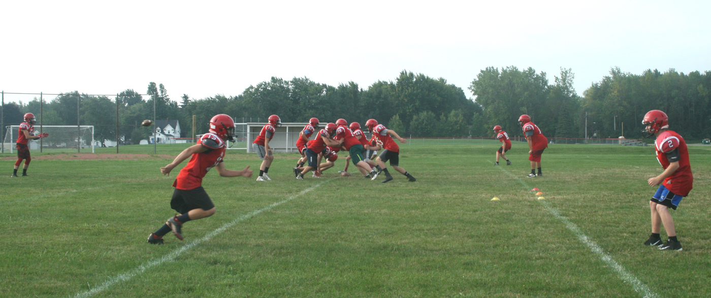The Holley Hawks took to the field August 28 to practice the new eight-man format. Provided photo