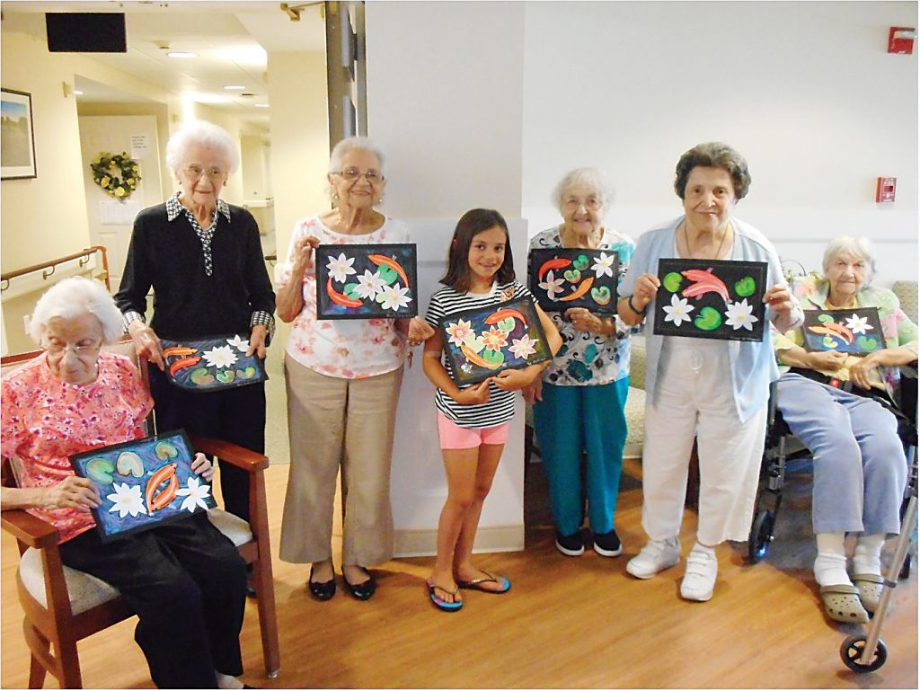 Pictured here with their completed artwork are Evelyn Gravina, Florence Francione, Berta Desormeau, Madison Major, Jane Wargo, Mary Masceri and Joyce Hinshaw. Provided photo