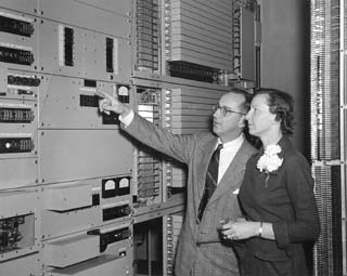 Don and Maxine Davison in 1953 at Ogden Telephone Company.
