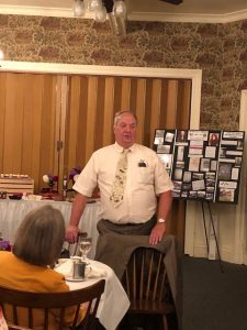 Ron Belczak, Town of Riga and Village of Churchville historian, speaking about the journey of Harvey C. Noone from Churchville to his death in WWI in France and returning to Churchville's Creekside Cemetery.