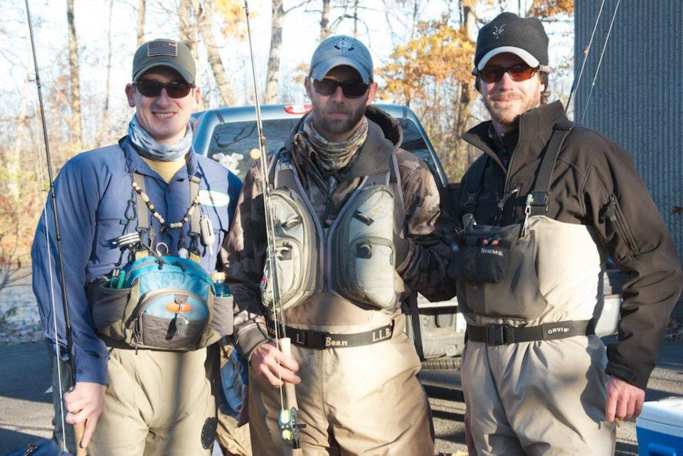 Fishing friends at a PHWFF Salmon River Event. (L-R) Rob Burke, Matt Smythe, Veteran and Guide, and Daniel Morgan, PHWFF Media Director. Provided photo