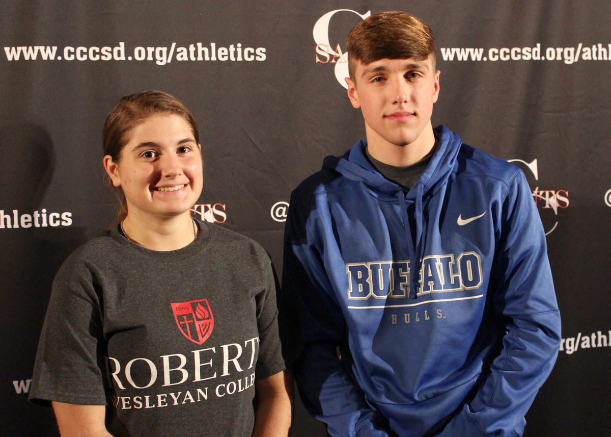 Future Roberts Wesleyan Redhawk Jennifer Zambuto (l) and University of Buffalo Bull Ty Raines (r) look forward to exciting college careers in sport