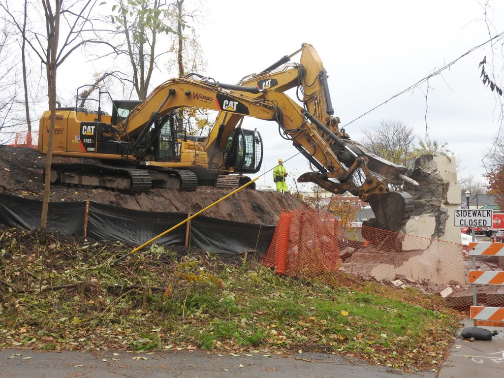 On Tuesday, November 6, the crew used excavating equipment to break apart the abutment on the west side of Route 259.