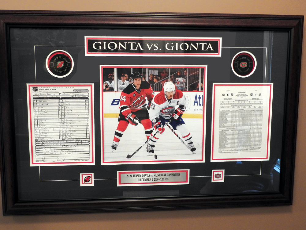 Shadowbox with mementos from the Gionta vs. Gionta game when Brian played for the Montreal Canadiens and his younger brother Stephen Gionta played for the New Jersey Devils. The game was played on December 2, 2010. Final score Montreal 5, New Jersey 1. Photo by Karen Fien