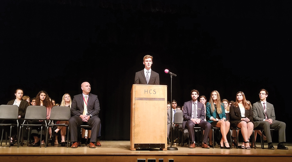 Adam Sheelar, committee chair for the United Nations Children's Fund, addresses his fellow delegates from 34 area schools during the 39th Annual Model United Nations Conference at Hilton High School. Provided photo