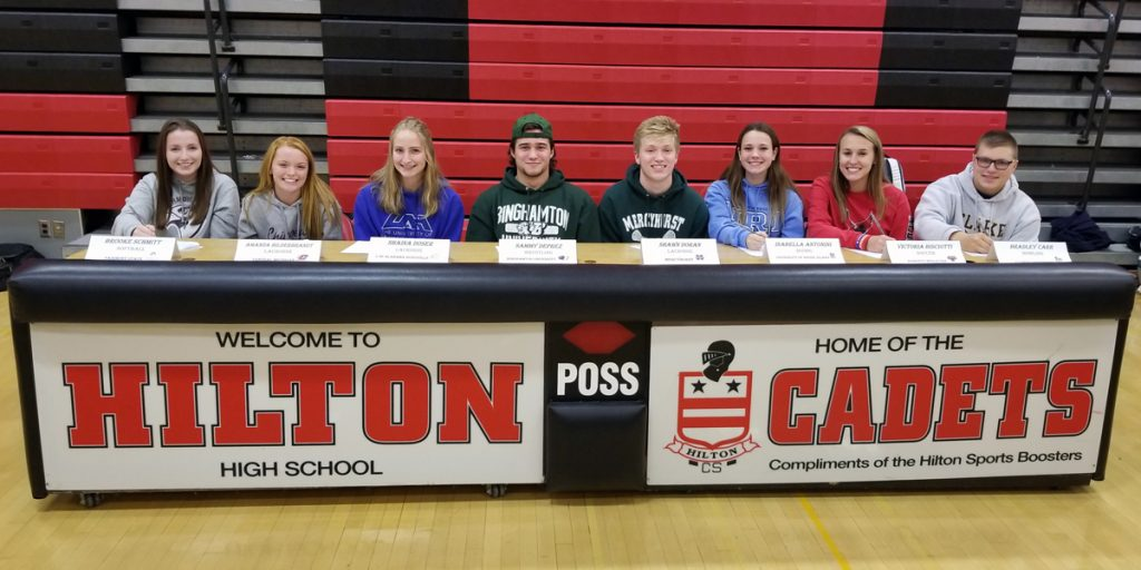 Hilton High School student athletes signing letters of intent to play collegiate sports (l-r) Brooke Schmitt, Amanda Hilderbrandt, Shaina Doser, Sammy DePrez, Shawn Doran, Isabella Antonini, Victoria Bisciotti and Bradley Carr. Provided photo