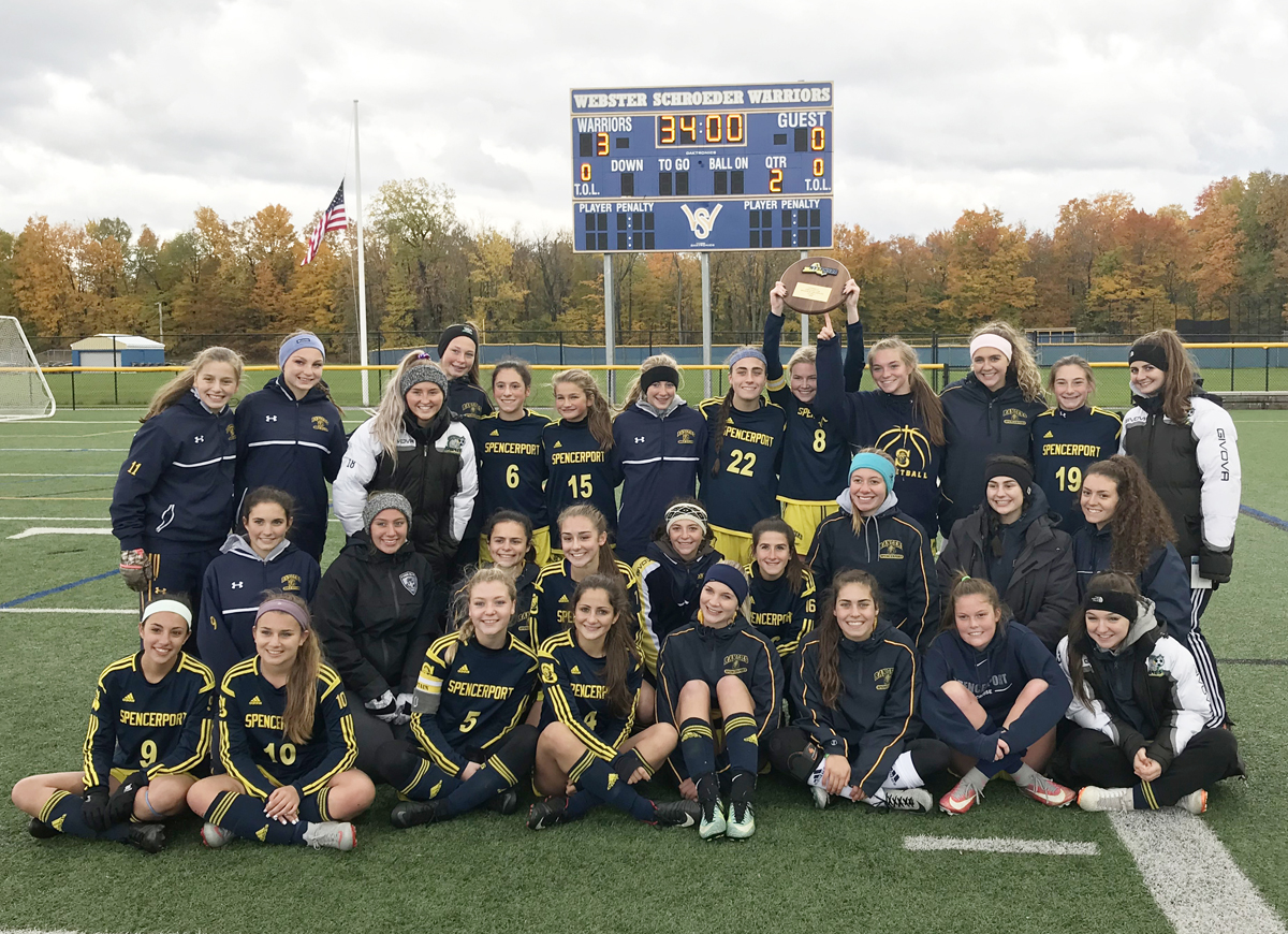 Spencerport Rangers girls soccer team following their win at Regionals. Provided photo