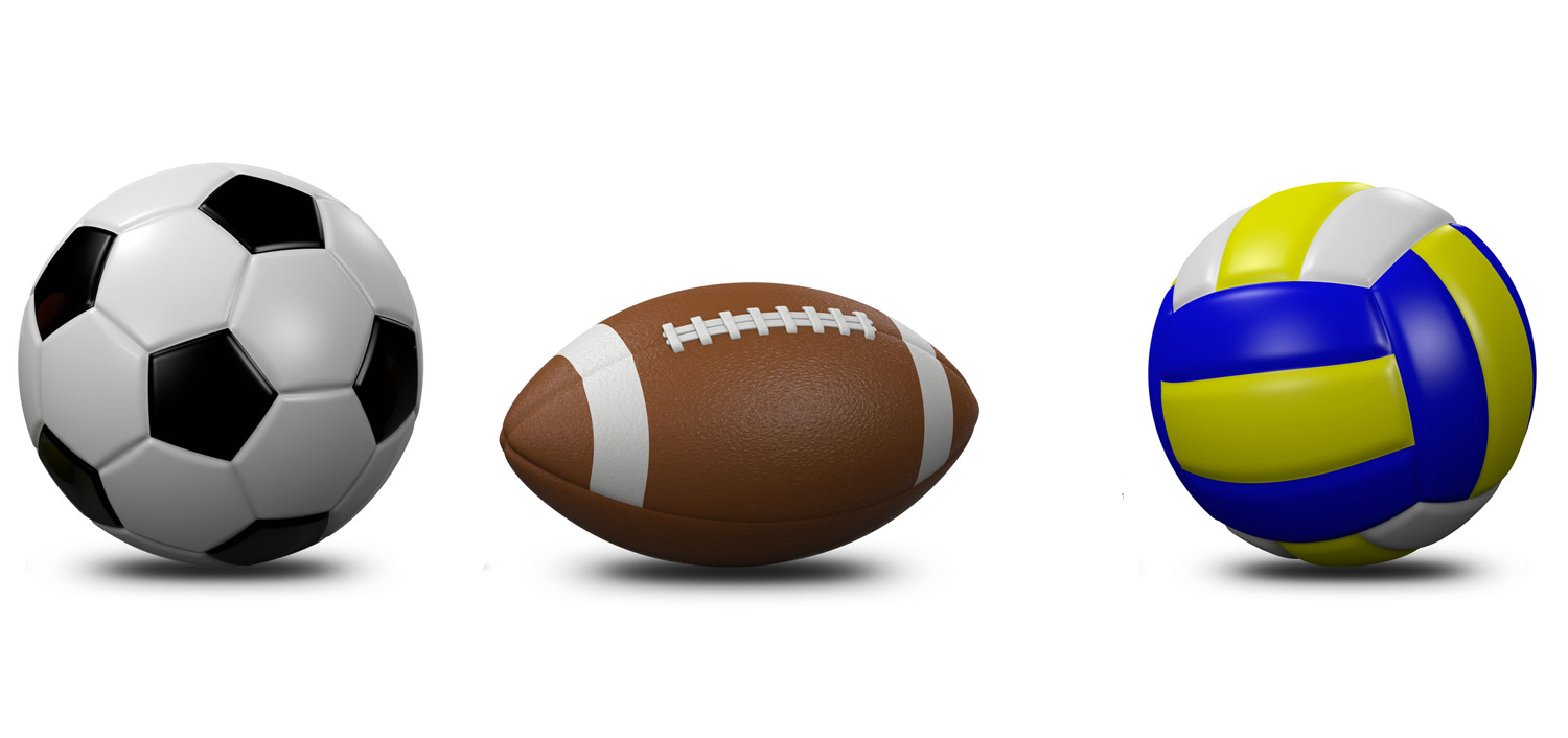 55328360 - sports balls collection on white background 3d illustration