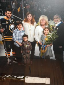 Brian Gionta pictured with his wife, three children and his parents at the celebration of his 1,000th NHL hockey game. Provided photo
