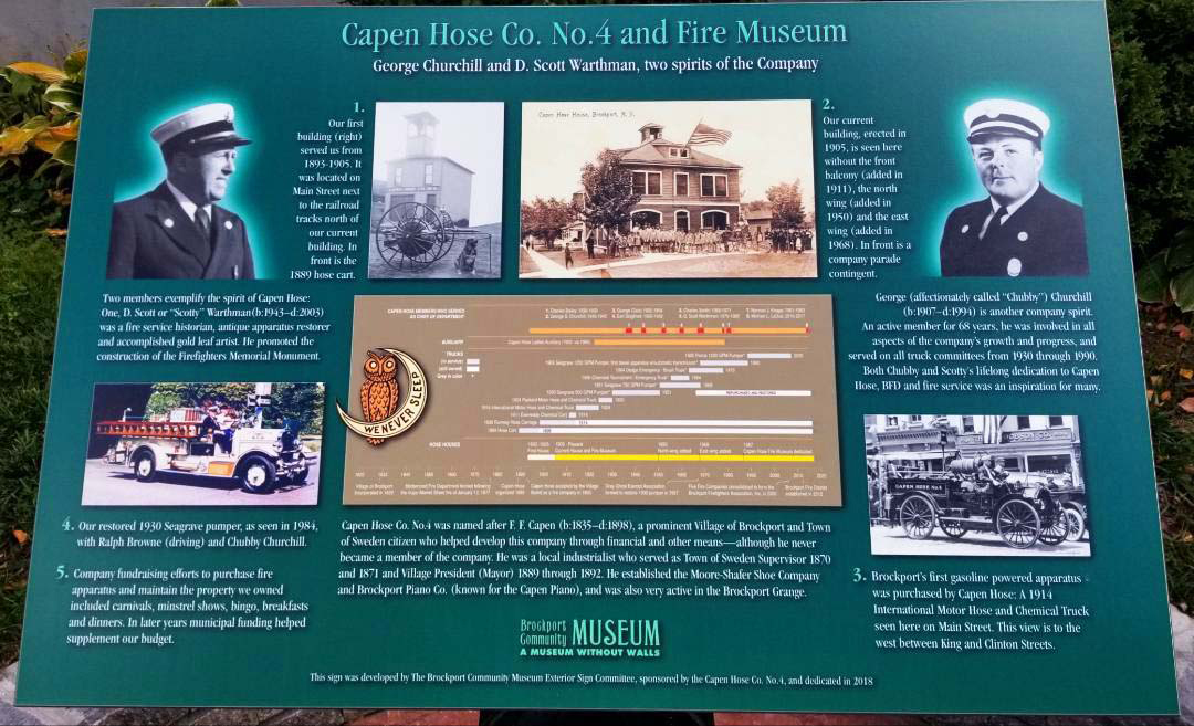 "The Capen Hose Co. No. 4 and Fire Museum interpretive panel includes the photos of D. Scott ""Scotty"" Warthman (1943 to 2003) and George ""Chubby"" Churchill (1907 to 1994), named ""two spirits of the company."" Buildings shown include, left, the first building from 1893 to 1905; right is the current building erected in 1905. The fire truck on left is a restored 1930 Seagrave pumper as seen in a 1984 photo. The other equipment is the first gas powered apparatus purchased by Capen Hose Co. in 1914. Photo by Dianne Hickerson"