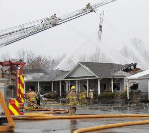 Crews from five area departments responded to an early morning fire at Barefoot Landing Plaza on North Union Street in Spencerport on April 6. The fire spread through the roof gutting several businesses in the northwest corner of the plaza.