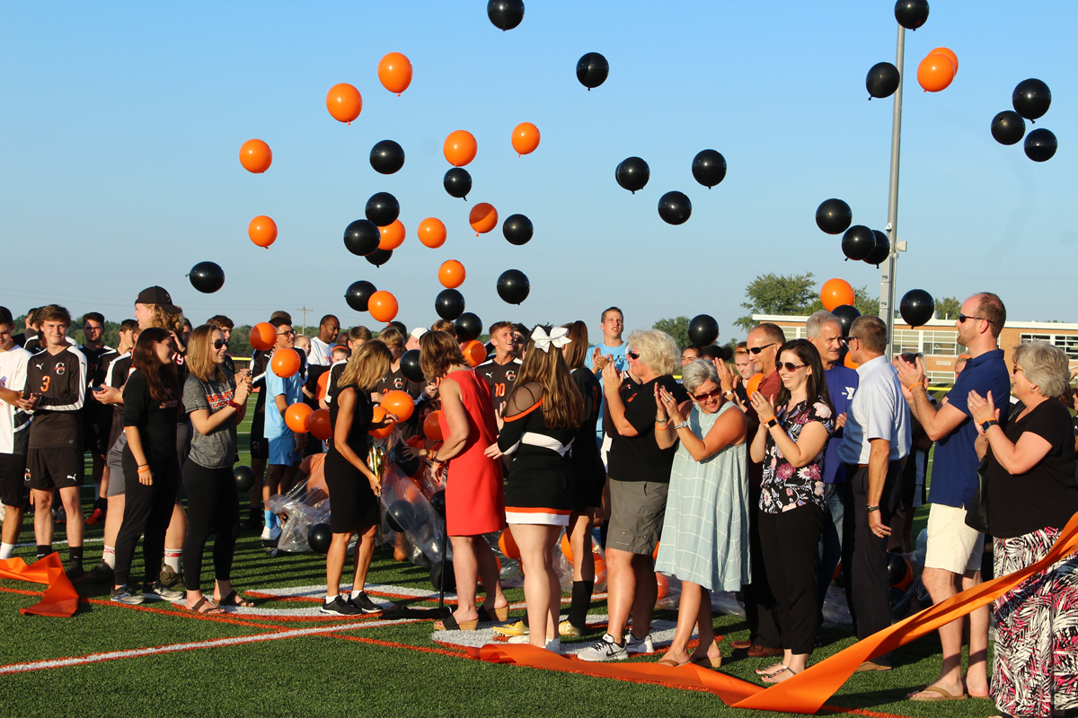 After more than one year of construction, the Churchville-Chili CSD officially cut the ribbon on the new turf field at the stadium in ceremonies on September 4.