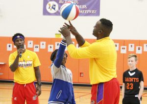 The world-famous Harlem Wizards visited Churchville-Chili on October 26 to lead a character-building assembly and play a game against the CC Saints HoopStars, a team comprised of school administrators, teachers and community members. $6,400 was raised for the student council during the sold-out show.