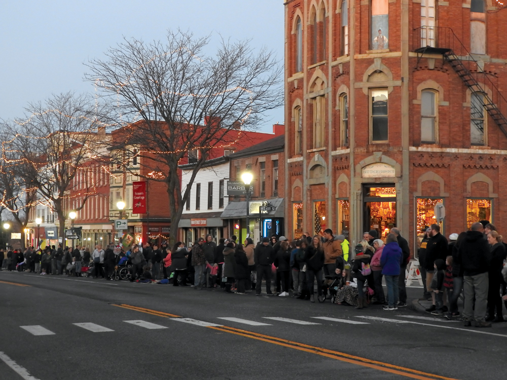 Crowd eagerly awaits the Brockport Holiday Light Spectacular & Parade.