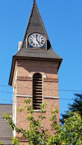 The Tower Clock atop the Brockport United Methodist Church was started during a rededication ceremony held June 25, exactly 104 years after the clock was first dedicated in 1914. The restoration was paid for by a grant from the Rochester Area Community Foundation and donations to a fund drive organized by the Brockport Lions Club.