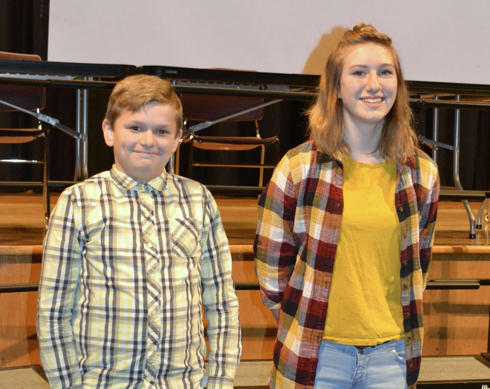 Jr. High Runner-Up Jack Benstead and Jr. High School Champion Libby Piper. Photo by Susan Kuszlyk