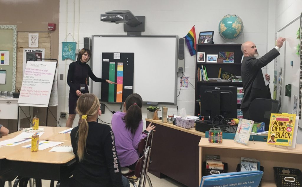 Lori Prinz and Superintendent Edwards present to a class of Byron-Bergen fourth grade students. Photo by Diane Taylor