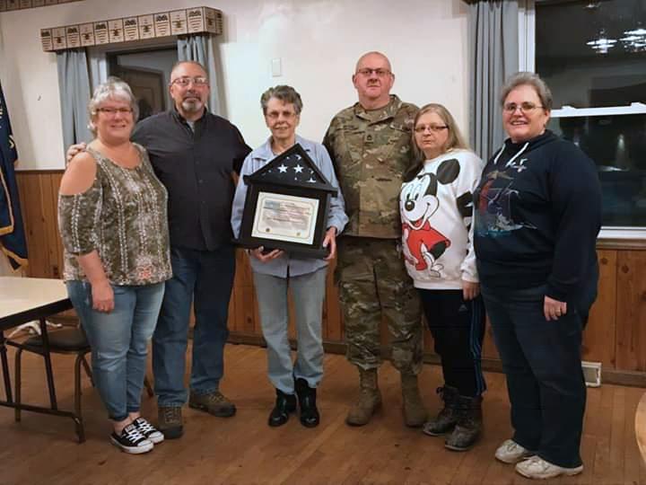 Pictured (l-r): Tammy Darnell, Sgt. Major Gary Darnell, Barbara Marhatta, Sgt. First Class Wayne Bush, Josie Bush and Monroe County American Legion Auxiliary President Vicki Lennox.