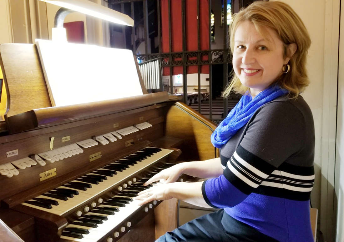 "Brenda Tremblay sits at the organ in St. Luke's Episcopal Church in Brockport where she is the organist and choir director. ""It was never my ambition to become a musician,"" she said, ""I became a musician by accident"" which occurred at St. Luke's attending a worship service. Photo by Dianne Hickerson"