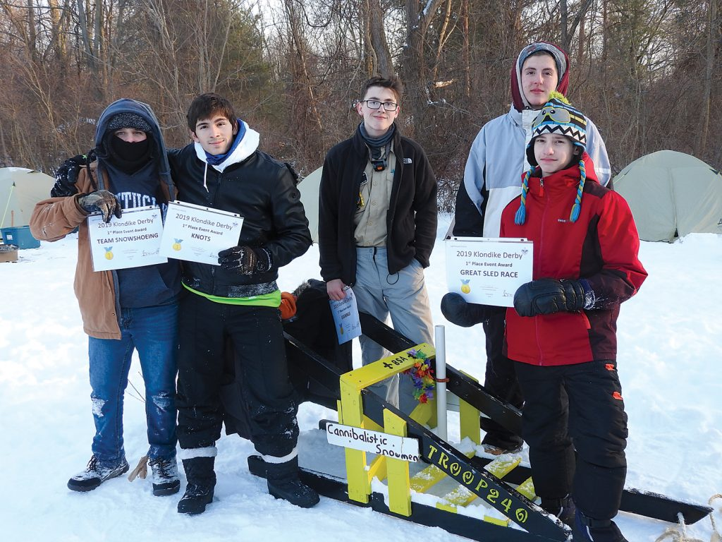 Members of Troop 240 from Greece won the Great Sled Race.