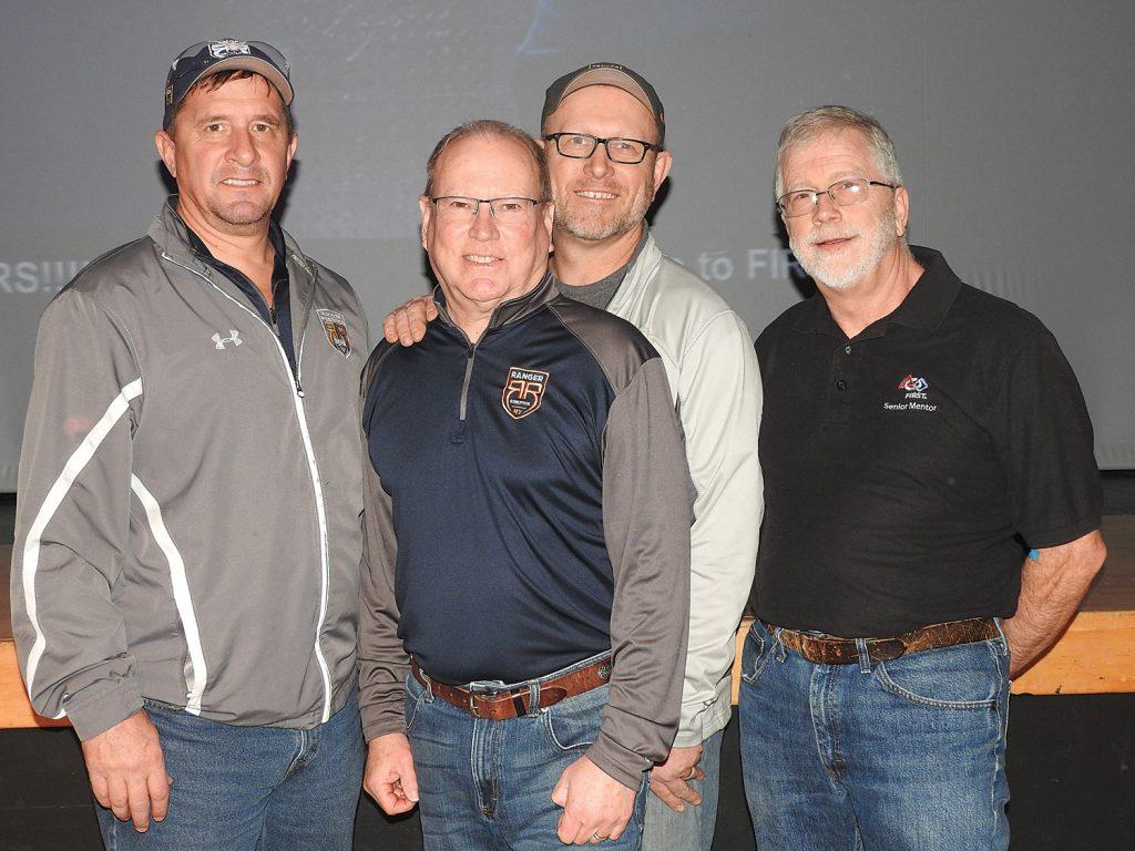 Sponsors of Spencerport Team 3015 Ranger Robotics (l-r): Tom Bopp (THB Enterprises and Ankom Technologies), Gary Bracken (Leidos Inc.), Mark Krolczyk (Three Design), Ron Borden (Bausch & Lomb).