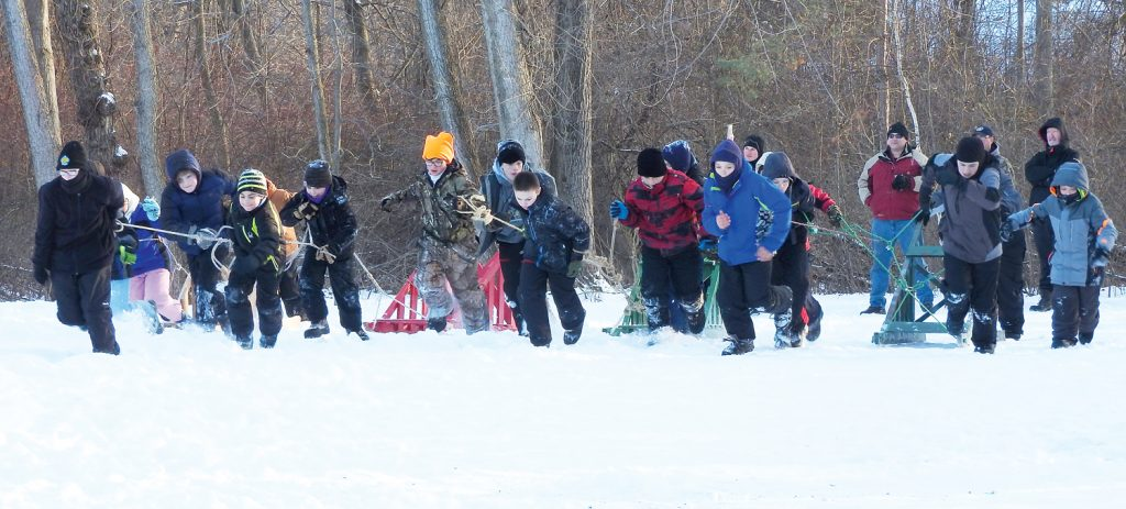 The Great Sled Race gets underway.