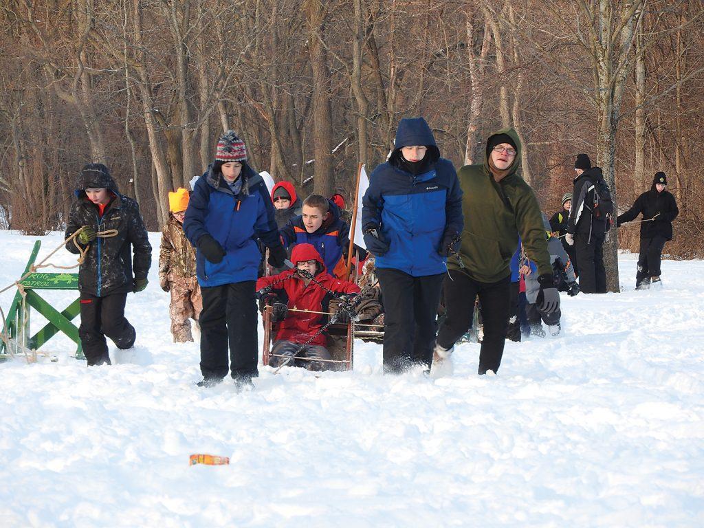 Hamlin's Troop 324 with their sled.