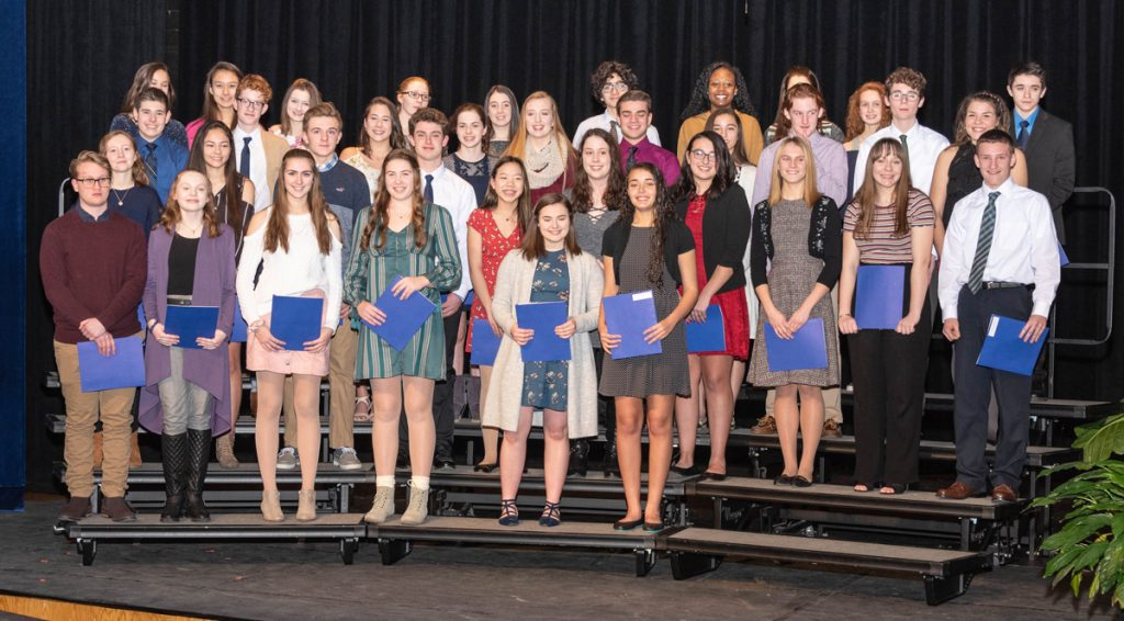New inductees of the Brockport High School chapter of the National Honor Society.