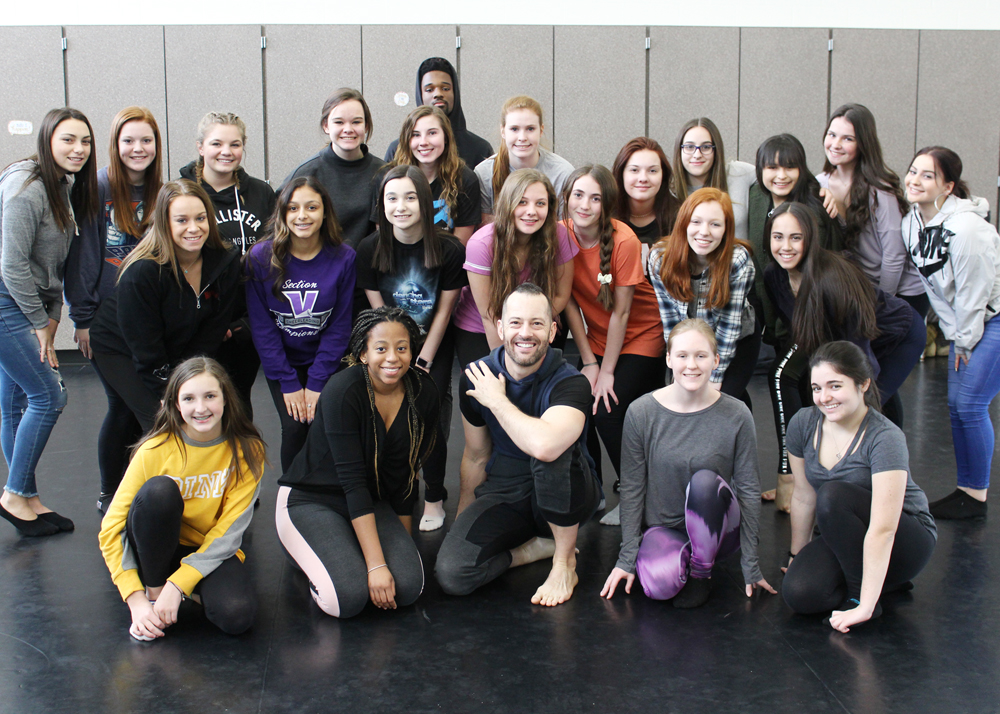 PUSH Artistic Director Darren Stevenson with Churchville-Chili Dance Excel students.