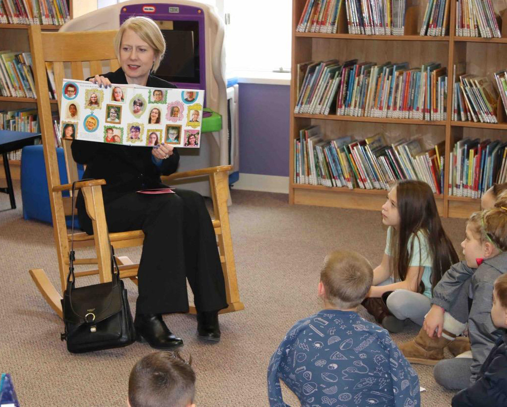 "Dr. Heidi Macpherson, president of The College at Brockport, was one of the readers at the ""Kiwanis Read Around the World Design-a-Bookmark Contest"" celebration at Seymour Library last year. She returns this year with several other readers supporting book reading for children. Provided photo"
