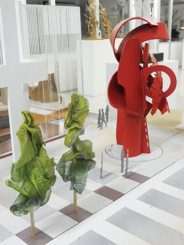 Works on display in gallery.