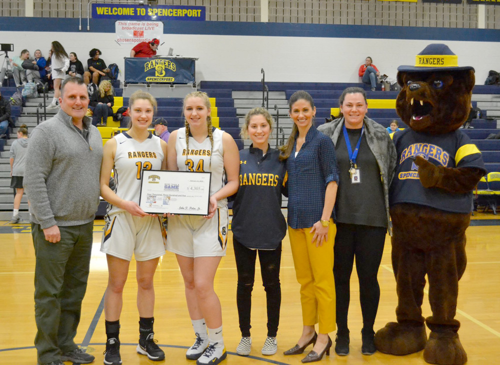 Rangers girls basketball seniors presented a check for $4,305 to the More Than A Game Foundation on February 11. Provided photo