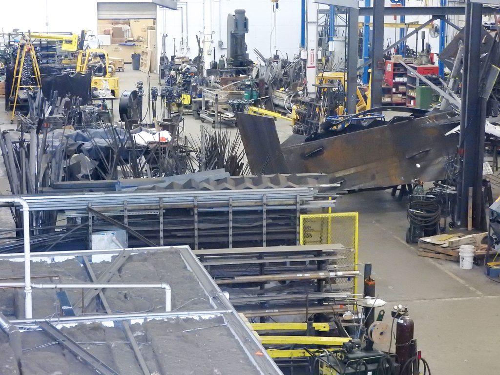 Overhead view of Paley fabrication studio.