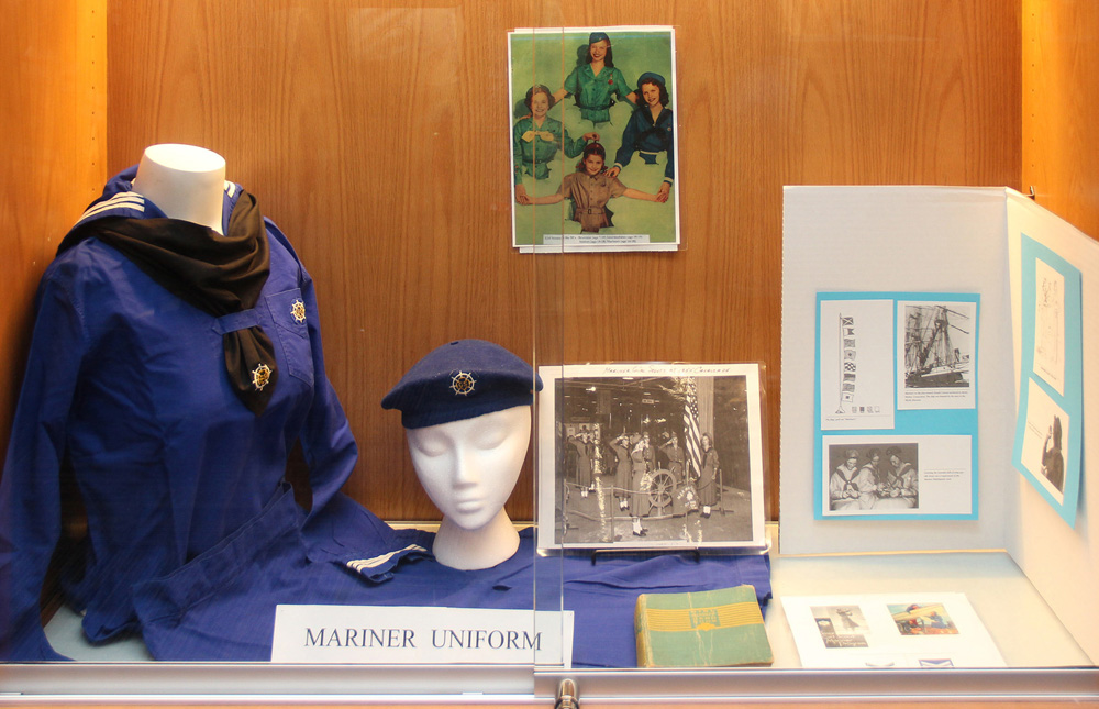 In one display case are the uniform and hat for the Mariner Scouts which existed between about 1934 to 1960. Photo by David Q. McDowell
