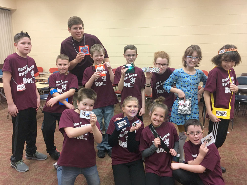 Byron-Bergen STEAM Jam team  with STEAM Lab Teacher Craig Schroth.  Photo by Diane Taylor