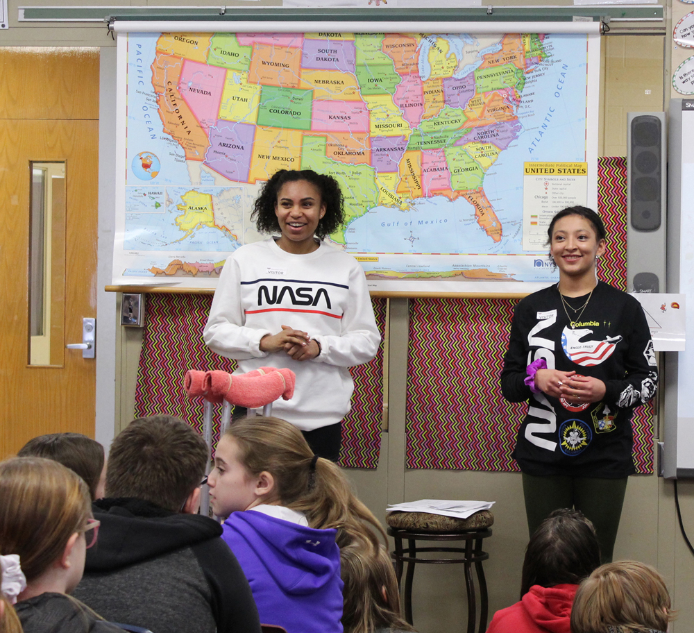 Byron-Bergen Senior High students discuss segregation with Elementary School students.