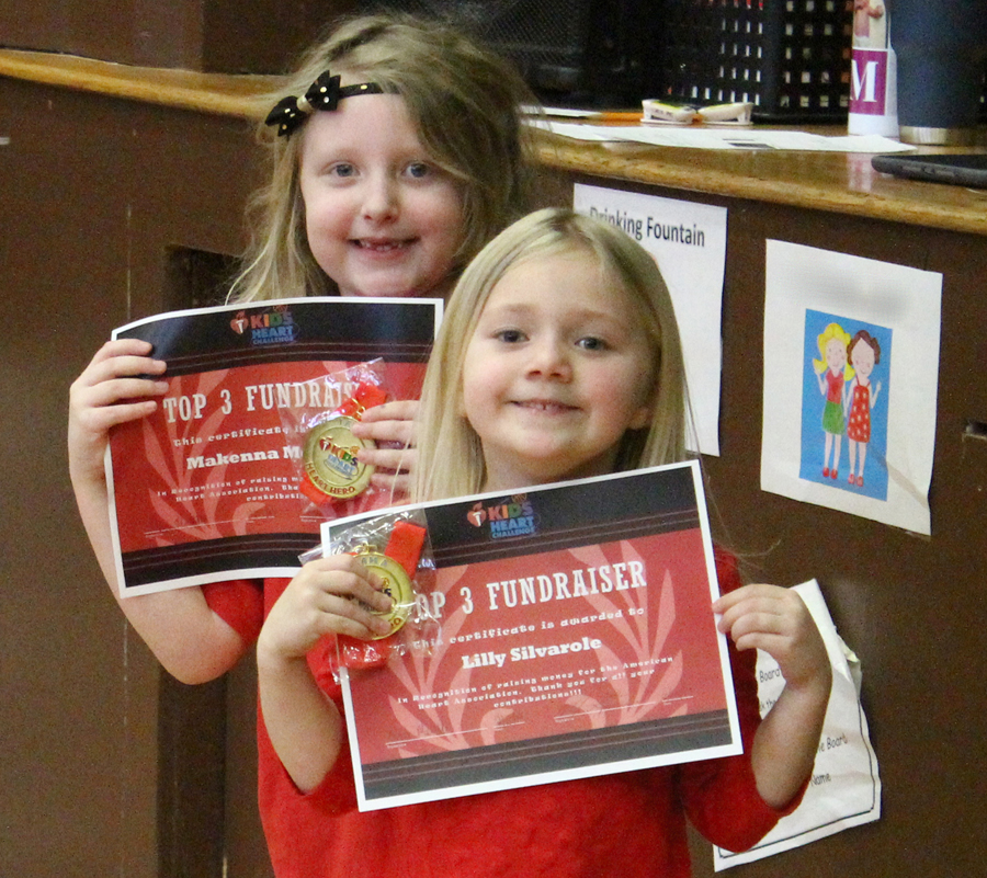 Two of the top fundraisers for the school, Makenna McAllister (left) and Lilly Silvarole (right).