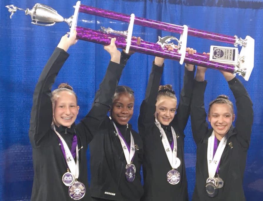 Bright Raven Gymnastics Level 6 Team: Gabriella White (Spencerport), Morgan Sizer (West Henrietta), Caroline Garbe (Webster), Natalie Wood (Henrietta).