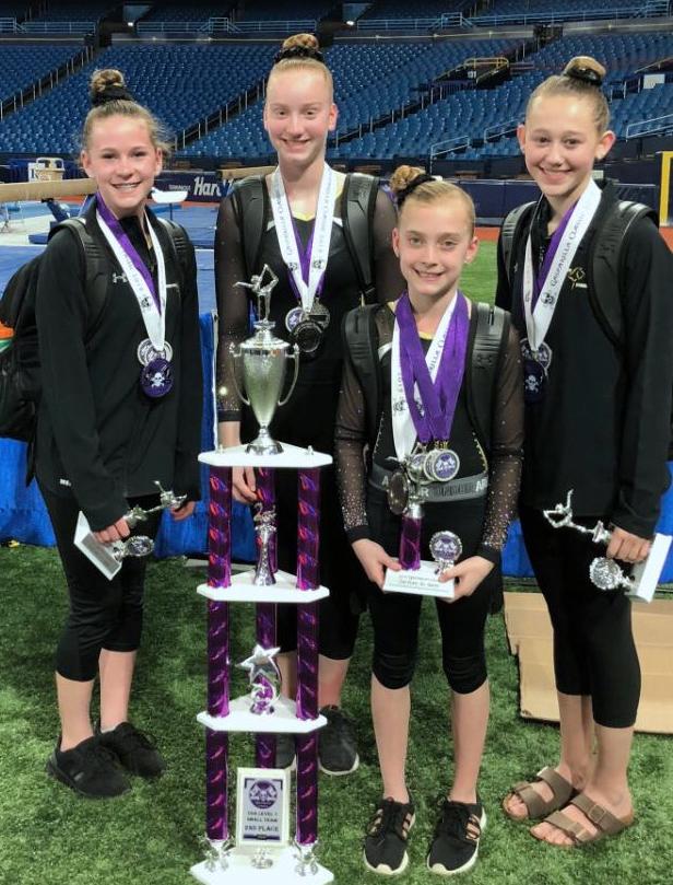 Bright Raven Gymnastics Level 7 Team: Meredith Fingler (Chili), Madison Maas (Churchville), Kylie Montague (Avon), Megan Robinson (Geneseo).