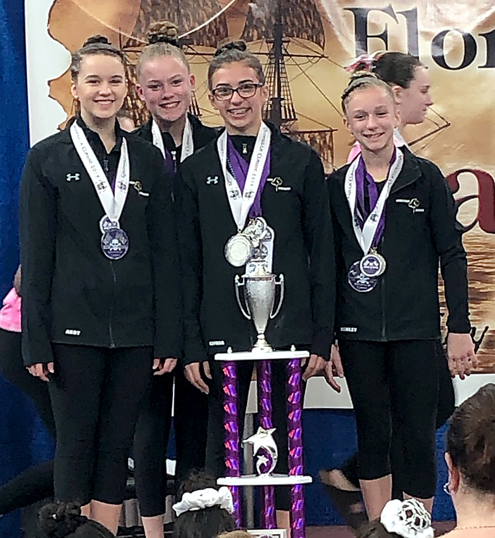 Bright Raven Level 8 Team: Abby Wilkins (Pittsford), Jillian Ambler (Fairport), Sophia Daeschner (Spencerport), Ashley Wood (Henrietta).