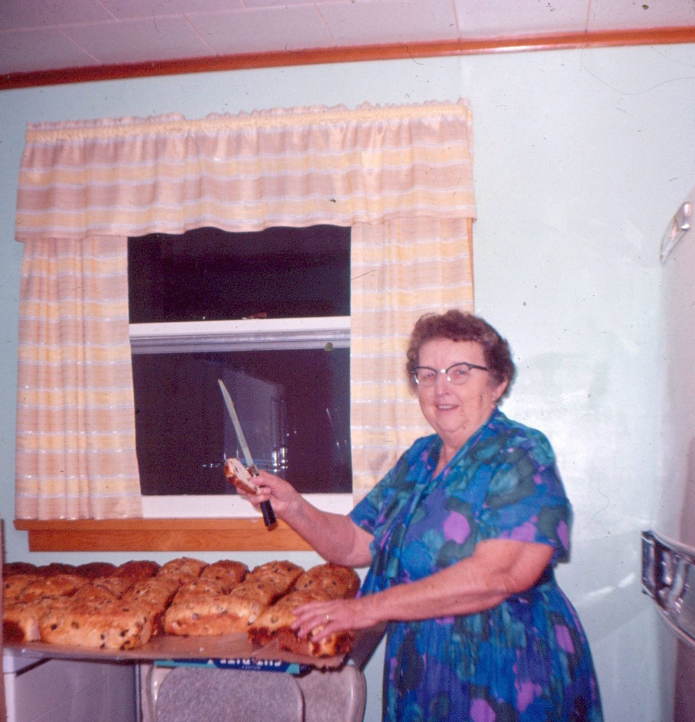 Christmas traditions, like Myrtle's homemade raisin bread, were important to the Lemcke family.