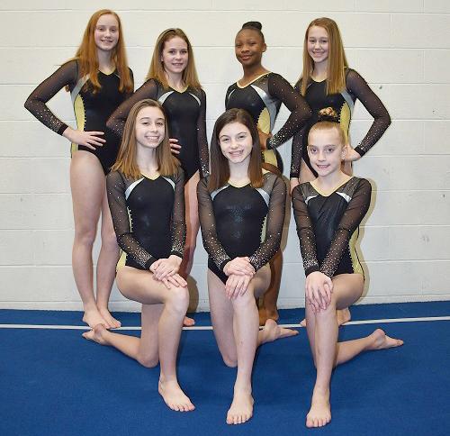 Level 7 Team:  (l-r) front row, Madison Isenberg, Mary Sack, Kylie Montague; back row, Madison Maas, Meredith Fingler, Nyla Ragland, Megan Robinson.